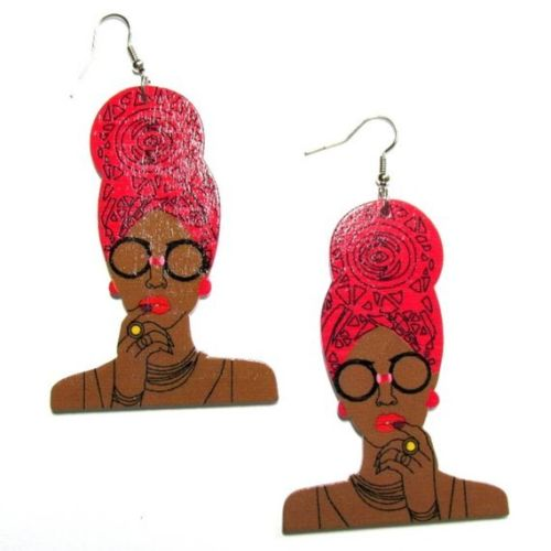 Queen Red Turban Statement Dangle Wood Earrings