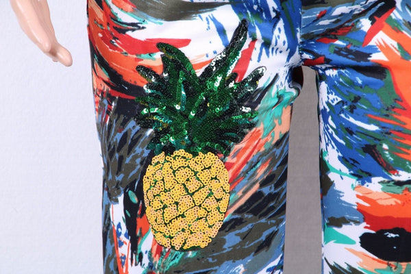 Abstract Sequin Pineapple Casual Activewear Sportswear Tracksuit