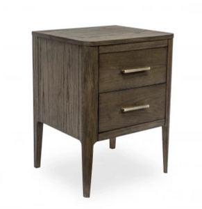 Aston | Bedside Table | Brown Oak & Brass, Bedside Cabinet - Hickory Furniture