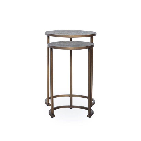 Azure Luxury | Nest of 2 Tables | Faux Shagreen, Nest of Tables - Hickory Furniture