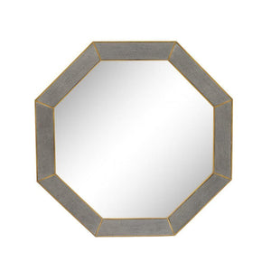 Azure Luxury | Octagon Mirror Grey | Faux Shagreen, Wall Mirror - Hickory Furniture