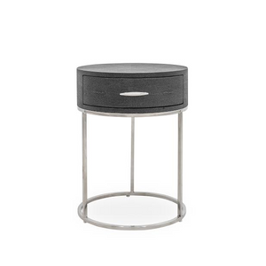 Azure Luxury | Round Bedside Table | Faux Shagreen, Bedside Cabinet - Hickory Furniture