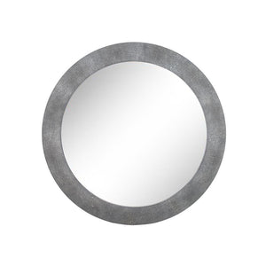 Azure Luxury | Round Mirror Grey | Faux Shagreen, Wall Mirror - Hickory Furniture