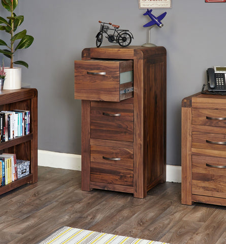 Shiro Walnut 3 Drawer Filing Cabinet-Filing Cabinet-Baumhaus-Hickory Furniture Co.