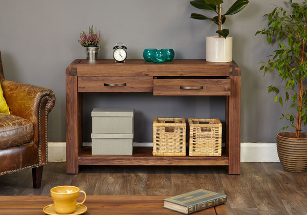 Shiro Walnut Console Table - Bedside Cabinet Free Shipping Baumhaus Hickory Furniture Co.