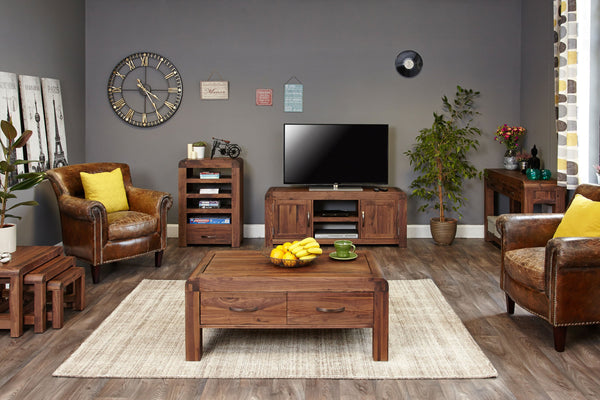 Shiro Walnut Entertainment Unit - Tv Media Unit Free Shipping Baumhaus Hickory Furniture Co.
