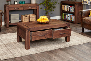 Shiro Walnut Four Drawer Coffee Table - Coffee Table Free Shipping Baumhaus Hickory Furniture Co.