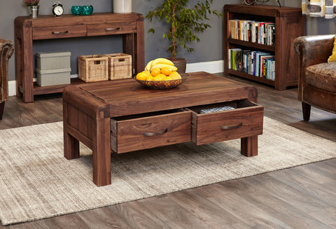 Shiro Walnut Four Drawer Coffee Table-coffee table-Baumhaus-Hickory Furniture Co.
