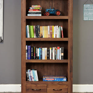 Shiro Walnut Large 2 Drawer Bookcase - Wall Shelf Free Shipping Baumhaus Hickory Furniture Co.