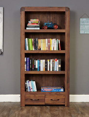 Shiro Walnut Large 2 Drawer Bookcase-Wall Shelf-Baumhaus-Hickory Furniture Co.