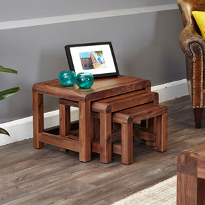 Shiro Walnut Nest Of 3 Coffee Tables - Nest Of Tables Free Shipping Baumhaus Hickory Furniture Co.