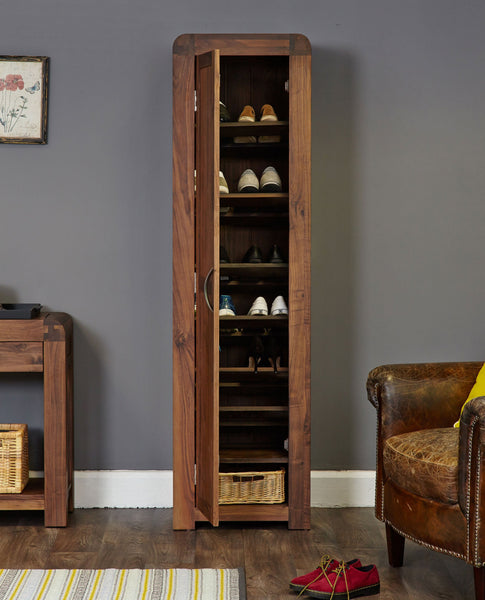 Shiro Walnut Tall Shoe Cupboard-Shoe Cupboard-Baumhaus-Hickory Furniture Co.