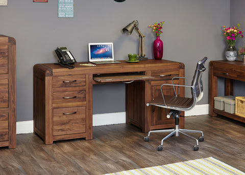 Shiro Walnut Twin Pedestal Computer Desk - Writing Desk Free Shipping Baumhaus Hickory Furniture Co.