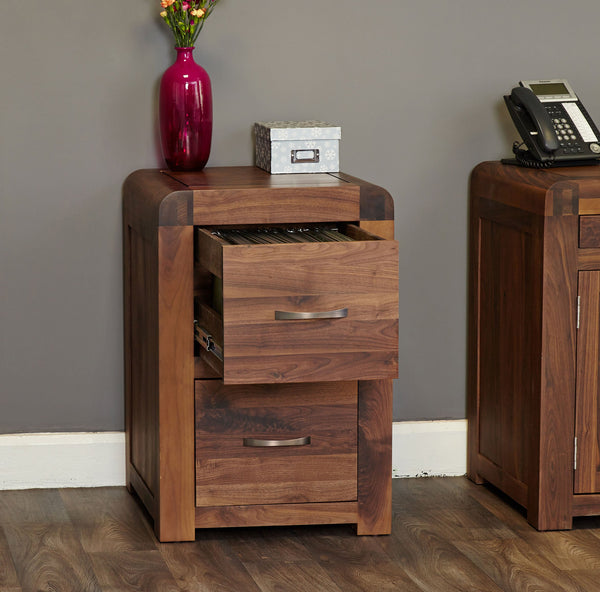 Shiro Walnut Two Drawer Filing Cabinet - Filing Cabinet Free Shipping Baumhaus Hickory Furniture Co.