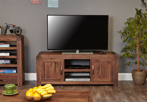 Shiro Walnut Widescreen Television Cabinet - Tv Media Unit Free Shipping Baumhaus Hickory Furniture Co.