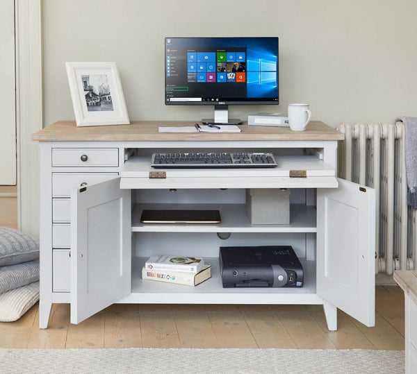 Signature Grey Hidden Home Office Desk - Writing Desk Free Shipping Baumhaus Hickory Furniture Co.