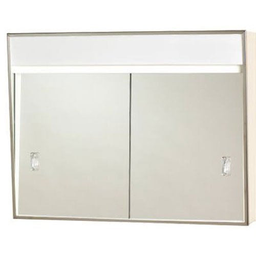 Lighted Stainless Steel Framed Medicine Cabinet with Sliding