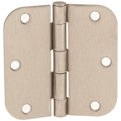 "Hinge 5/8"" Radius Corner, 3-1/2"" Satin Nickel 2pc"