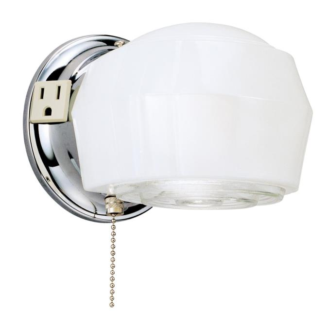 One-Light Indoor Wall Fixture with Ground Convenience Outlet and Pull Chain