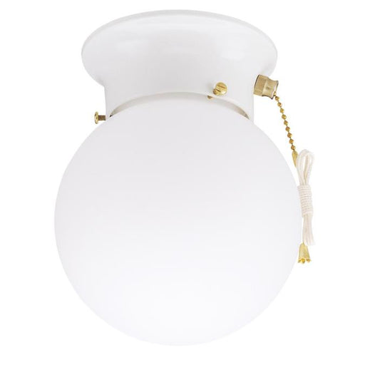 One-Light Indoor Flush-Mount Ceiling Fixture with Pull Chain