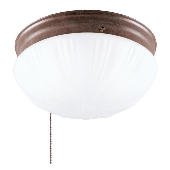 Two-Light Indoor Flush-Mount Ceiling Fixture with Pull Chain