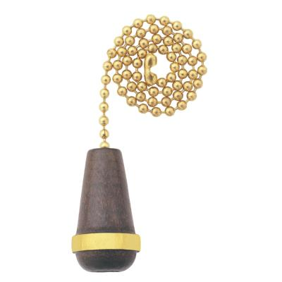 Walnut Wooden Cone Pull Chain, Polished Brass Finish