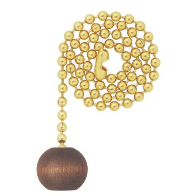 "Walnut Wooden Ball Pull Chain, Polished Brass Finish, 12"" Chain"