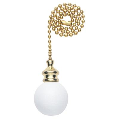 Wooden Ball White Finish Pull Chain