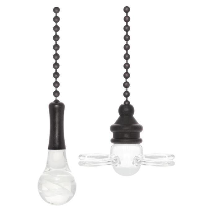 Clear Glass Fan and Bulb Pull Chains