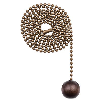 "Walnut Wooden Ball Pull Chain, Antique Brass Finish, 36"" Chain"