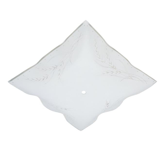 12-Inch Clear Wheat Design on White Ruffled Edge Glass Diffuser