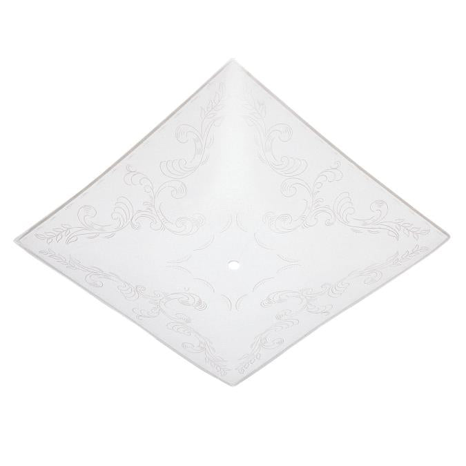 12-Inch White Glass Diffuser with Clear Floral Design