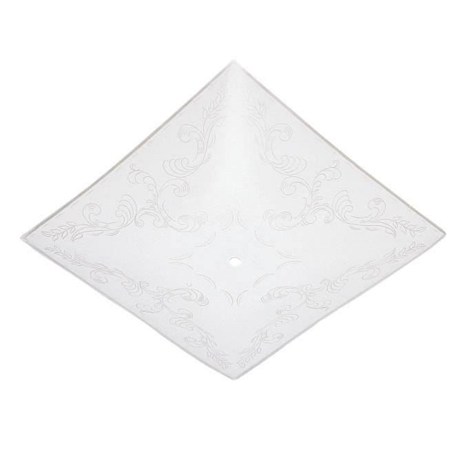 14-Inch Clear Floral Design on White Glass Diffuser