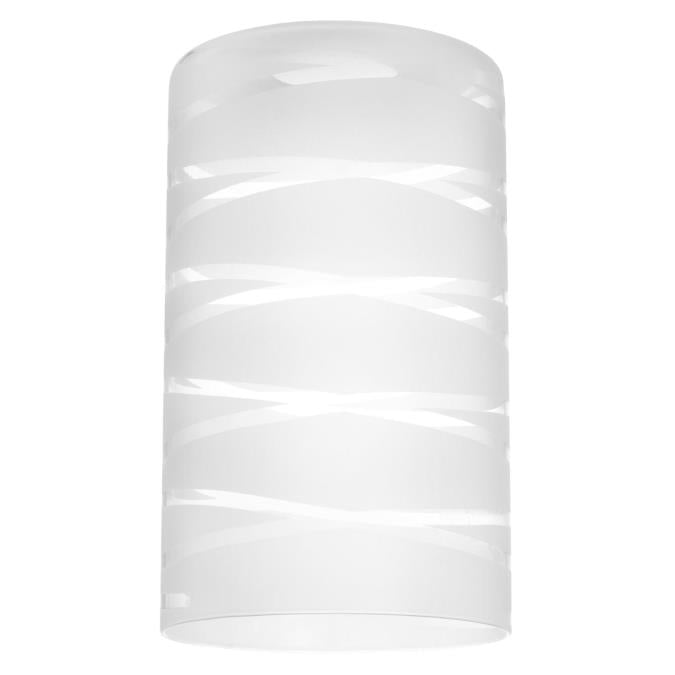 2 1/4-Inch White and Clear Etched Cylinder Glass Shade