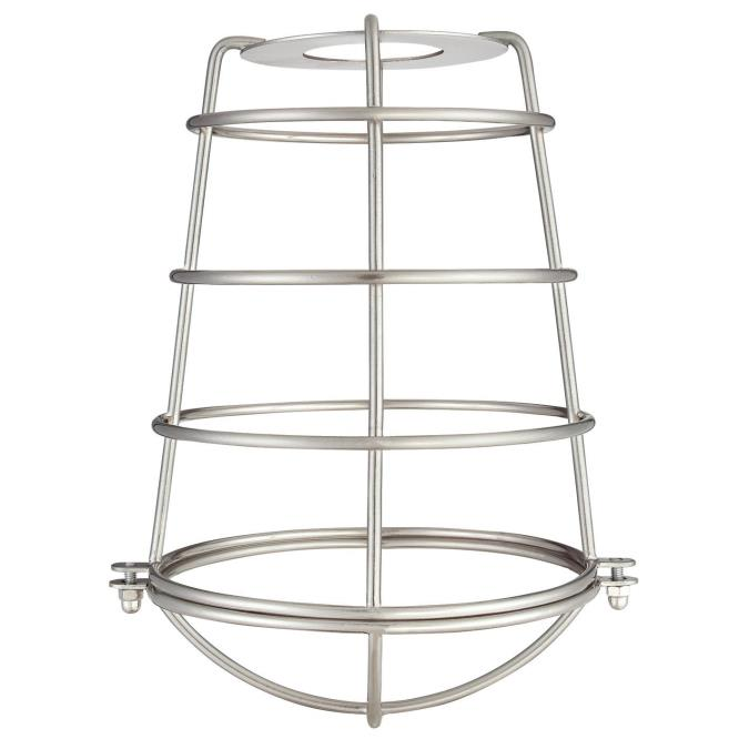 2-1/4-Inch Brushed Nickel Industrial Cage Neckless Metal Shade
