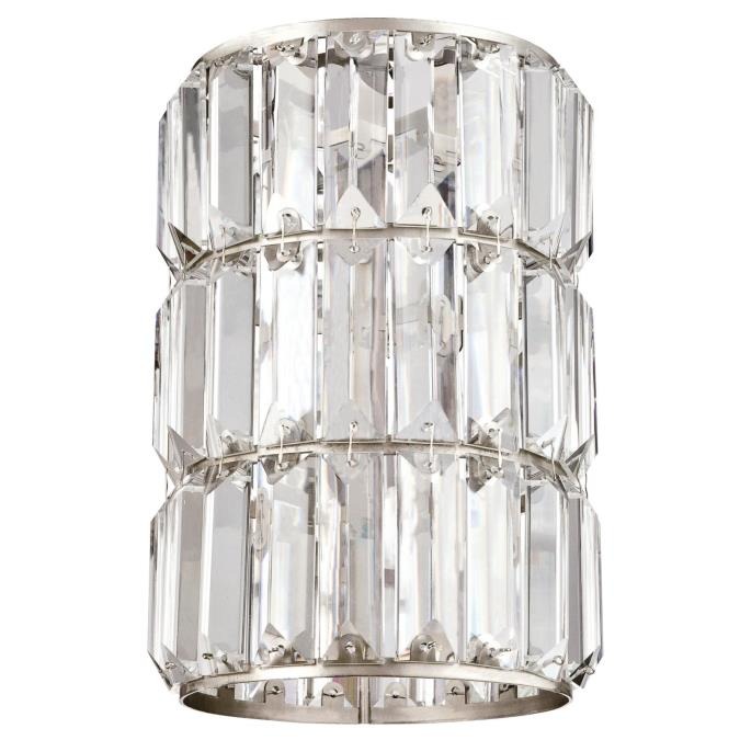 Crystal Prism and Brushed Nickel Cylinder Shade