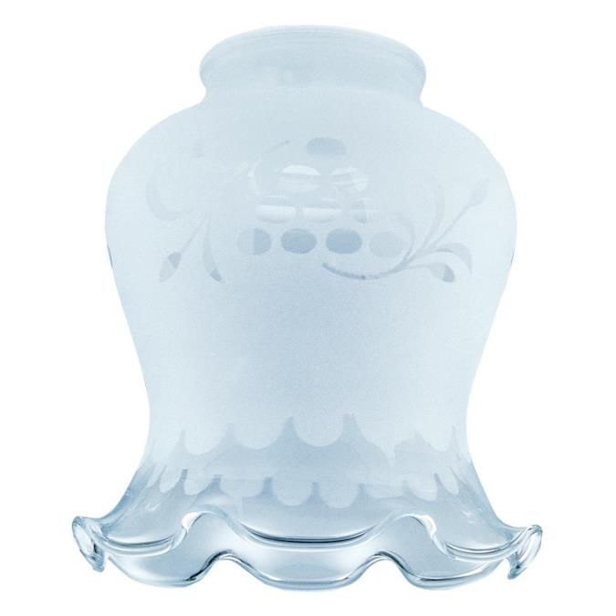 2-1/4-Inch Handblown Frosted Etched Grape Design Crimp Glass Shade