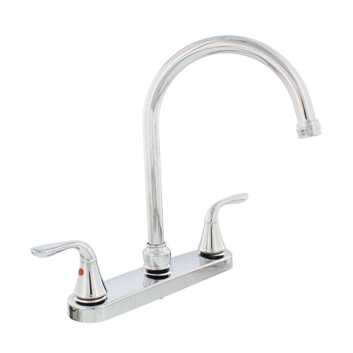 Two Handle Gooseneck Kitchen Faucet Chrome w/ Spray