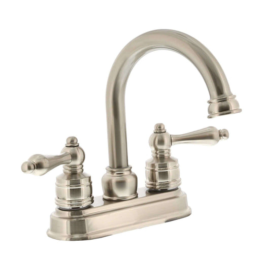 Two Handle High Spout Teapot Bath Faucet Satin Nickel
