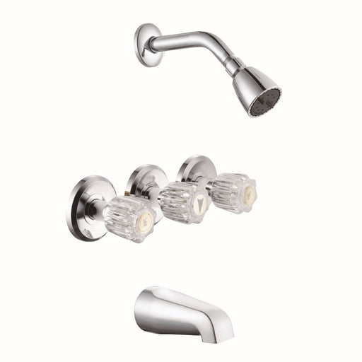Three Handle Tub/Shower Faucet Chrome