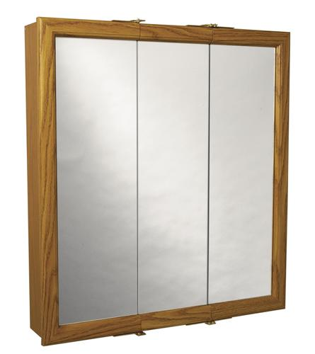 30 in Oak Framed Tri-View Medicine Cabinet