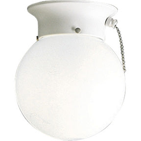 White Glass Globe Closet Light w/ Chain