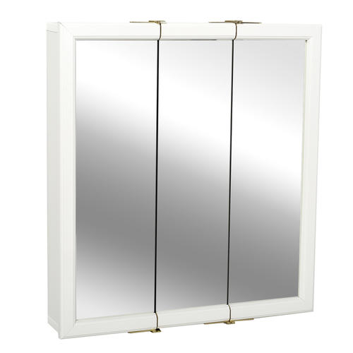 24 in White Framed Tri-View Medicine Cabinet