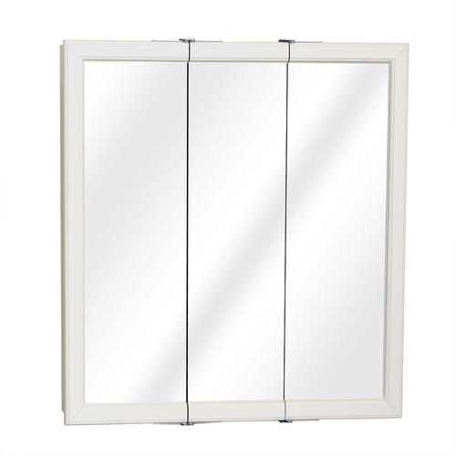 30 in White Framed Tri-View Medicine Cabinet