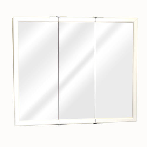 36 in White Framed Tri-View Medicine Cabinet