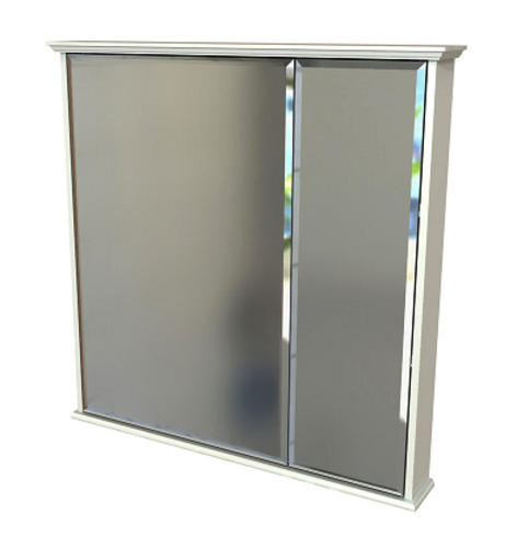 White Bi-View Medicine Cabinet with Decorative
