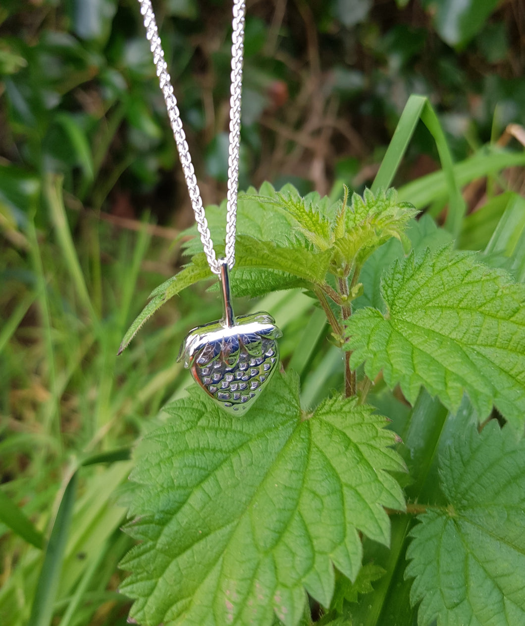 Sterling silver 3d strawberry pendant