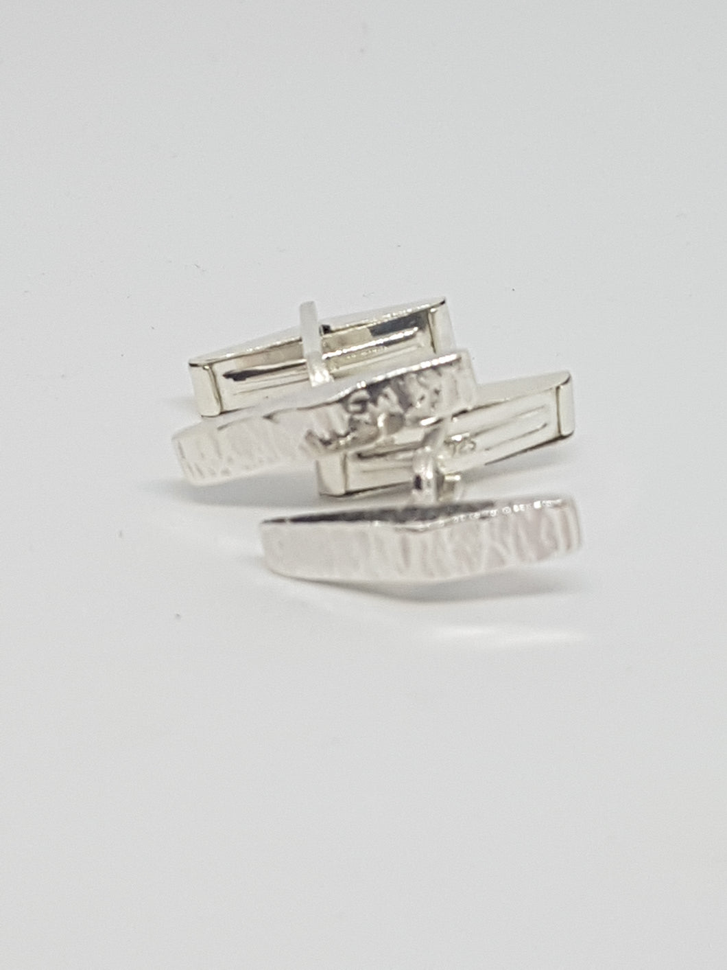 Sterling silver triangle prism cufflinks
