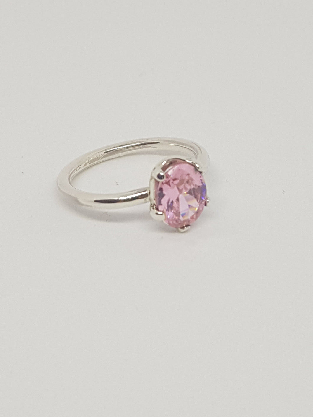 SOLD! Sterling silver ring with pink cubic zirconia