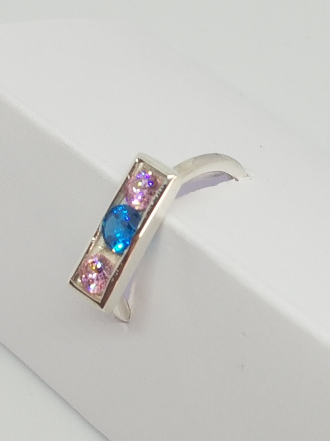 SOLD! Sterling silver with pink and blue cubic zirconia